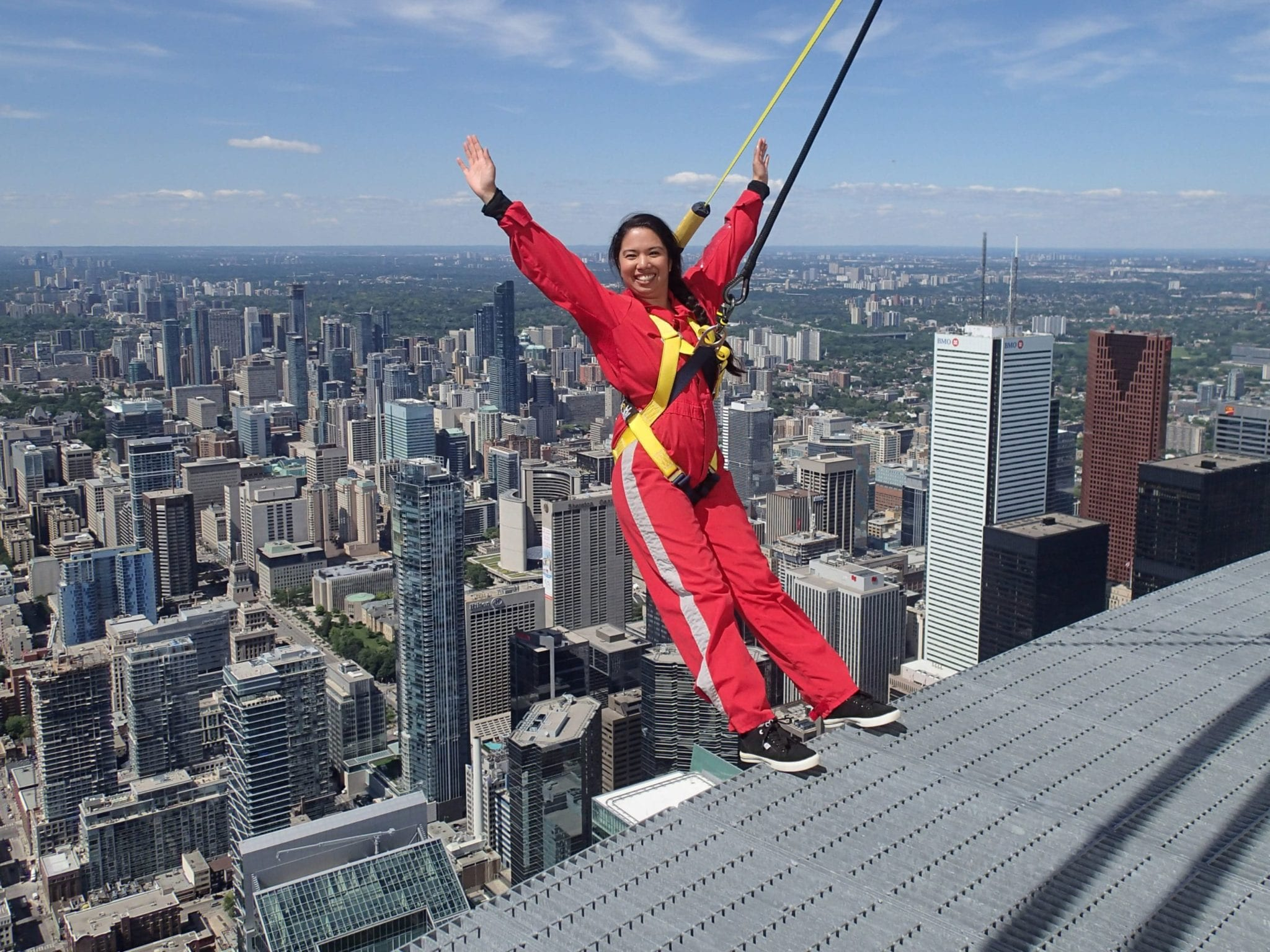 Joanne Hyatt does the Edgewalk